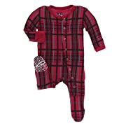 Kickee Pants Print Footie with Snaps - Christmas Plaid (9-12M)