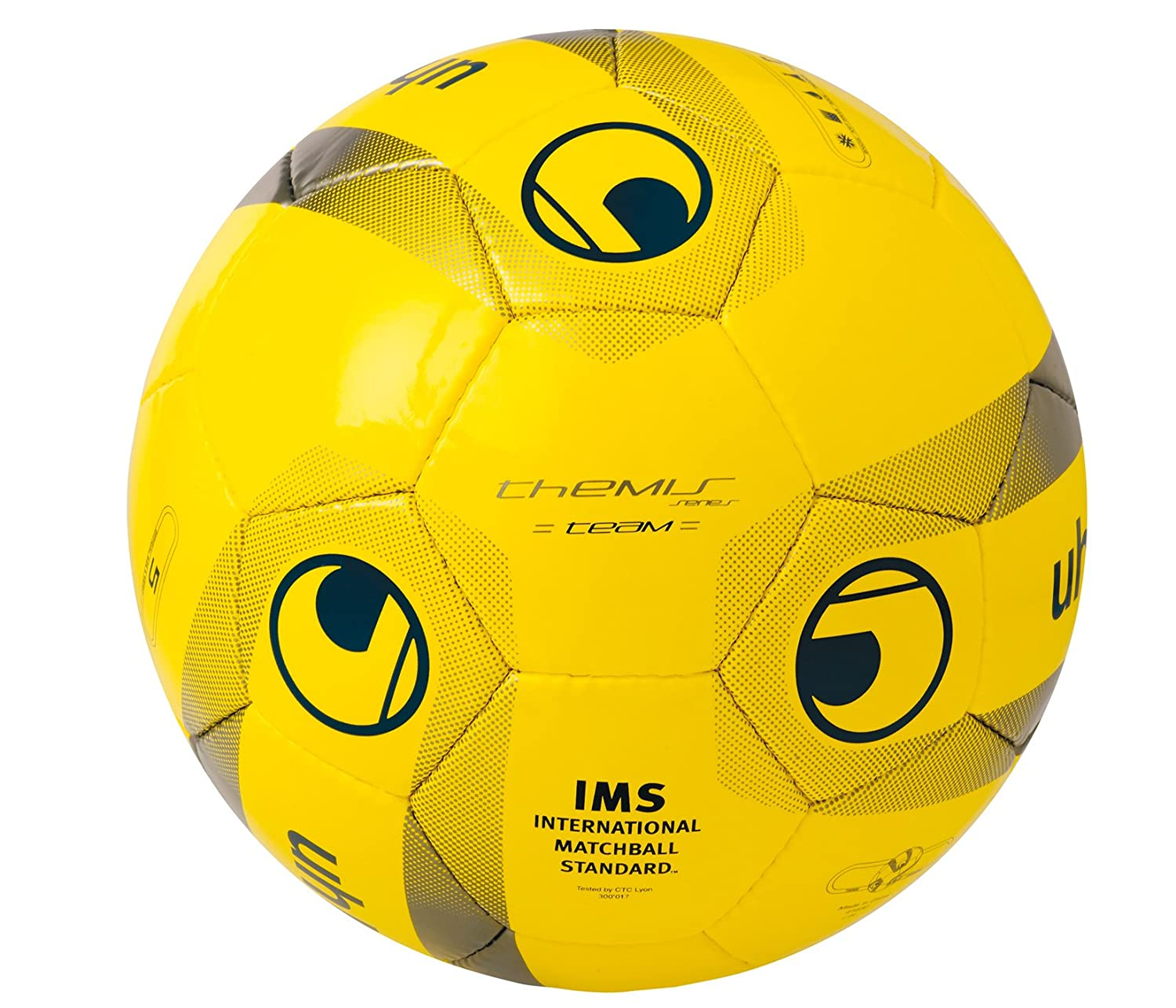 uhlsport Themis Team - Balón de fútbol, Color - Yellow/Navy/Grey ...