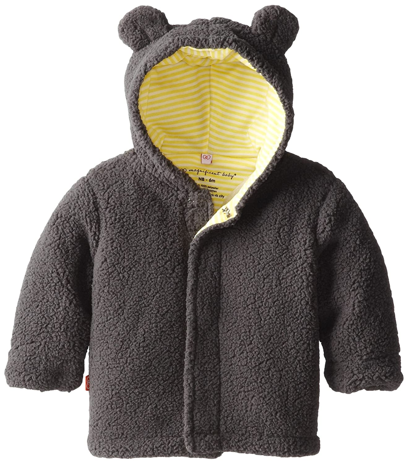 Magnificent Baby Unisex-Baby Infant Fleece Bear Jacket, Ash/Lemon, 0-6 Months 5039-U