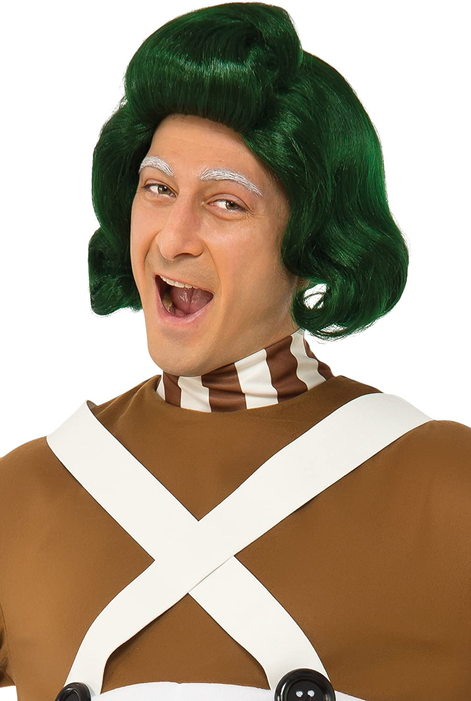 Men/'s Factory Worker Oompa Loompa Umpa Lumpa Fancy Dress Costume Green Wig