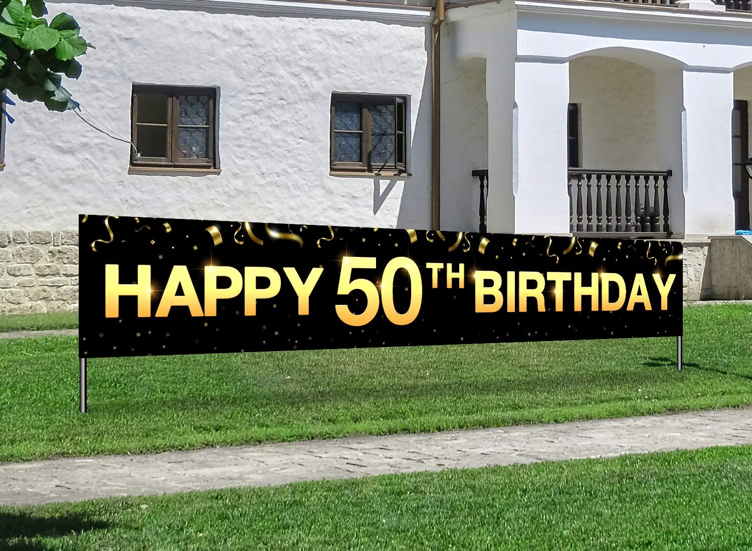 Greatingreat Large Cheers to 50 Years Banner, Black Gold 50 Anniversary Party Sign, 50th Happy Birthday Banner(9.8feet X 1.6feet)