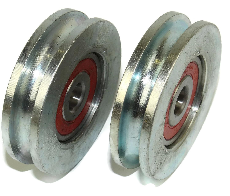 Pack von 2/verschiebbaren Gate Rollen 59/mm Durchmesser rund Groove Stahl hergestellt in der EU