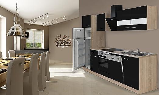 respekta – Bloque de Cocina 280 cm de Roble aserrada Negro Incluye ...
