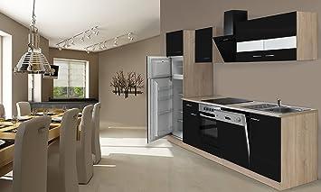 respekta Einbau Küche Küchenzeile 280 cm Eiche Sonoma Sägerau ...
