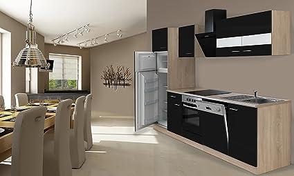 Respekta Incasso cucina cucina riga 280 cm Rovere sonoma grezzo nero ...
