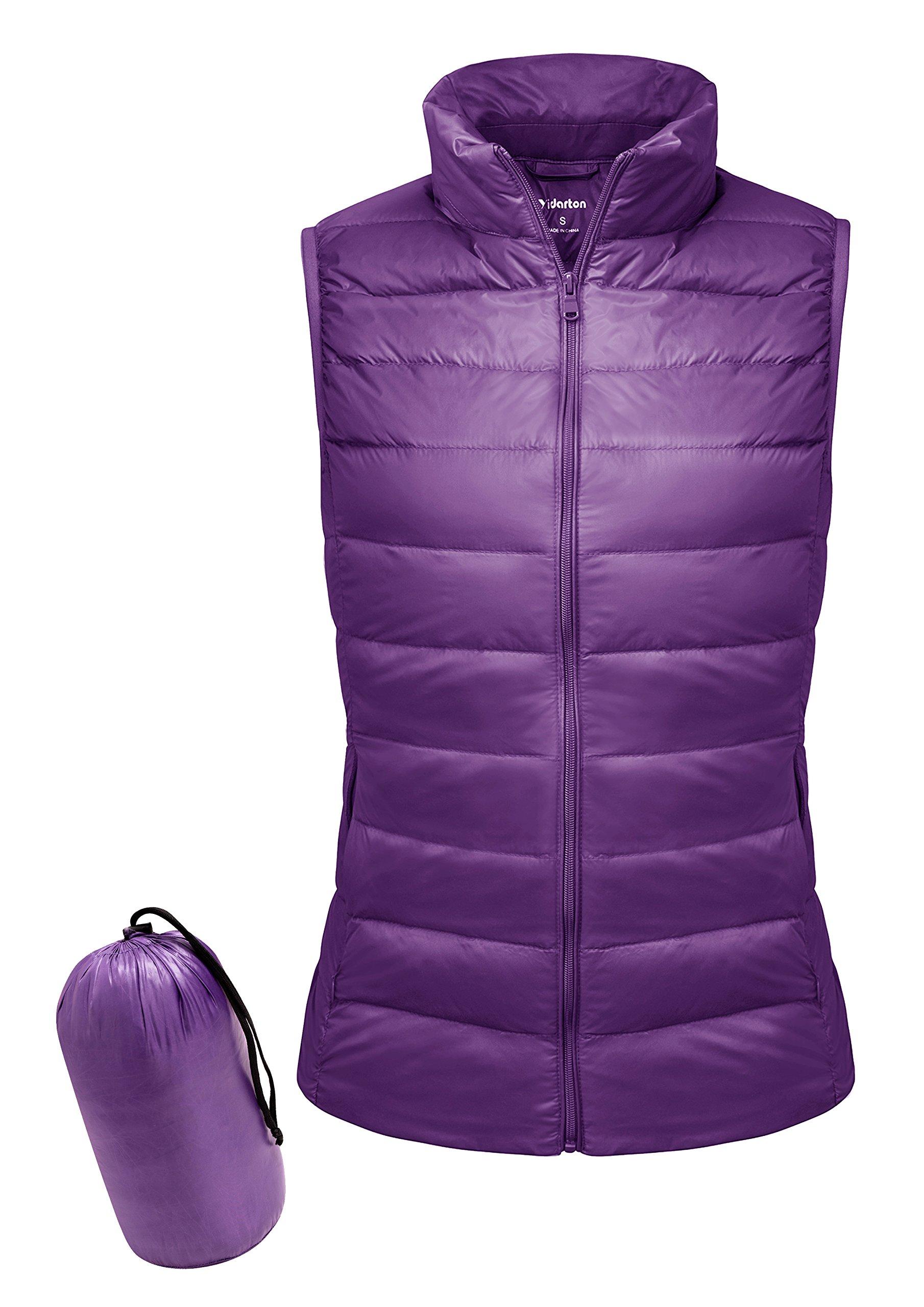 Yidarton Women Down Vest Packable Lightweight Outerwear Coat Jacket Puffer Vests(pu+xl)