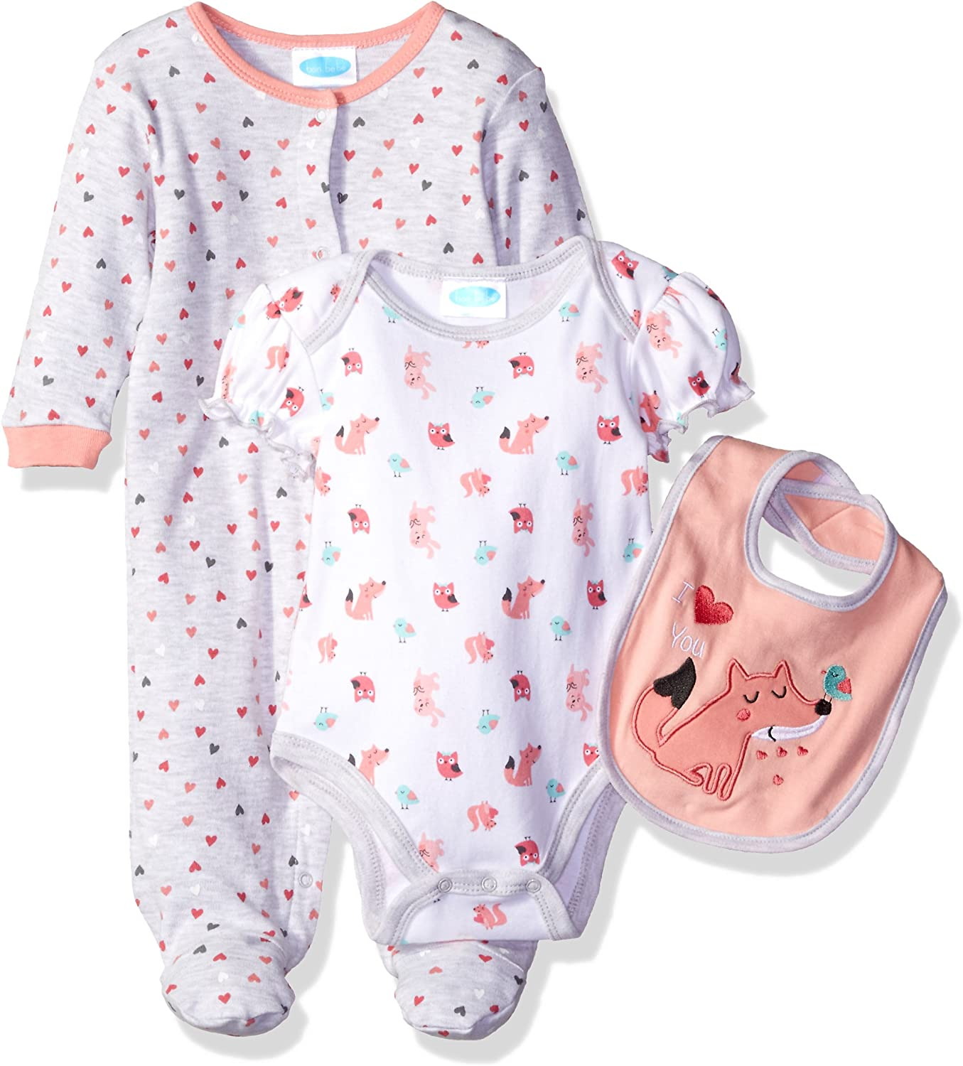 BON BEBE Baby Girls 3 Piece Take Me Home Set with Coverall Lap Shoulder Bodysuit and Bib