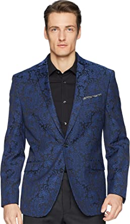 a0e17bbea2 Kenneth Cole REACTION Mens Blue Brocade Evening Jacket at Amazon Men s  Clothing store