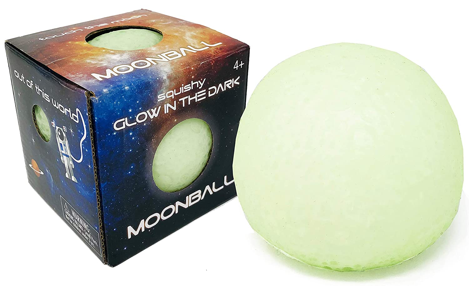 Island Genius Glow in The Dark Squishy Moon Ball Stress Relief Anxiety Sensory Toys for Kids and Adults