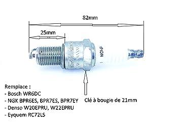 Bujía para motor 4 tiempos equivalente a BPR6ES, BPR7ES, RN7YC: Amazon.es: Jardín