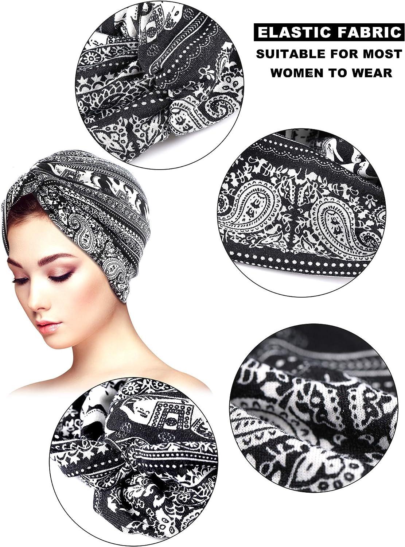 Yaomiao 2 St/ück weiche Turban-Kappen Bedruckt Turban-Hut Schlafm/ütze Kopfbedeckung f/ür Frauen