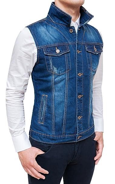 wholesale dealer f6e3a c2179 Smanicato di jeans uomo casual blu denim slim fit aderente ...