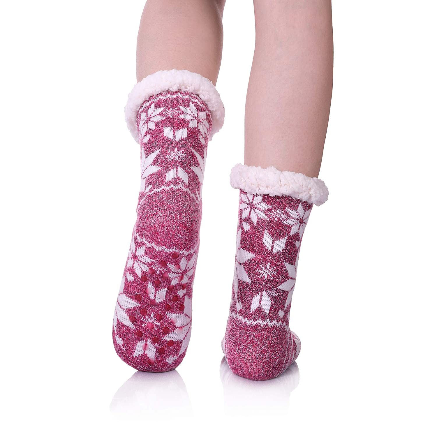 5e3a420fb5418 Womens Winter Fleece Lining Knit Christmas Non Slip Knee Highs Stockings  Warm Fuzzy Cozy Slipper Socks larger image
