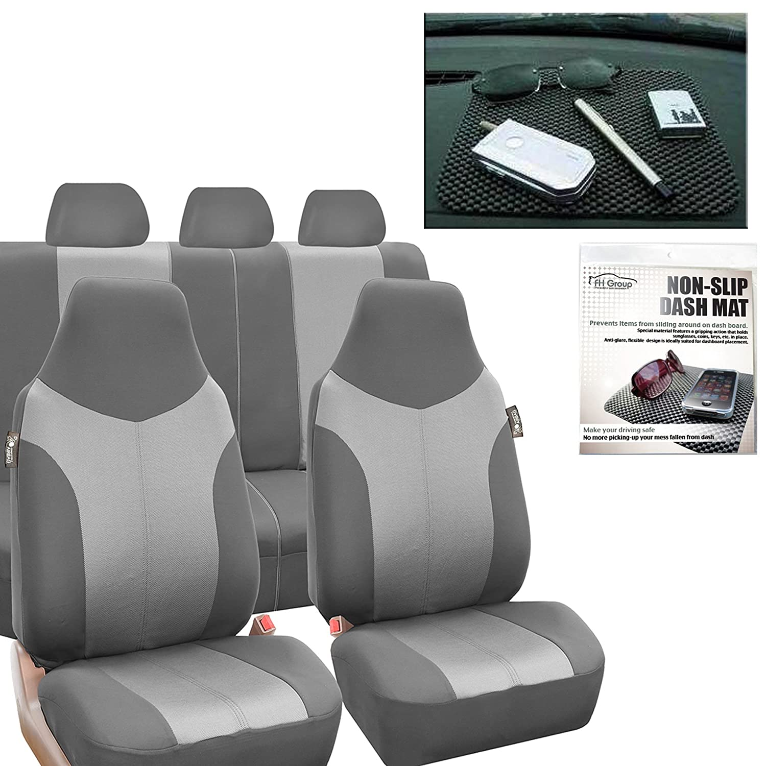 FH Group FH-FB101115 Supreme Twill Fabric High Back Seat Covers Light/Dark Gray (Airbag Ready and Split) W. FH1002 Non-Slip Dash Pad-Fit Most Car, Truck, SUV, or Van - Fit Most Car, Truck, SUV, or Va