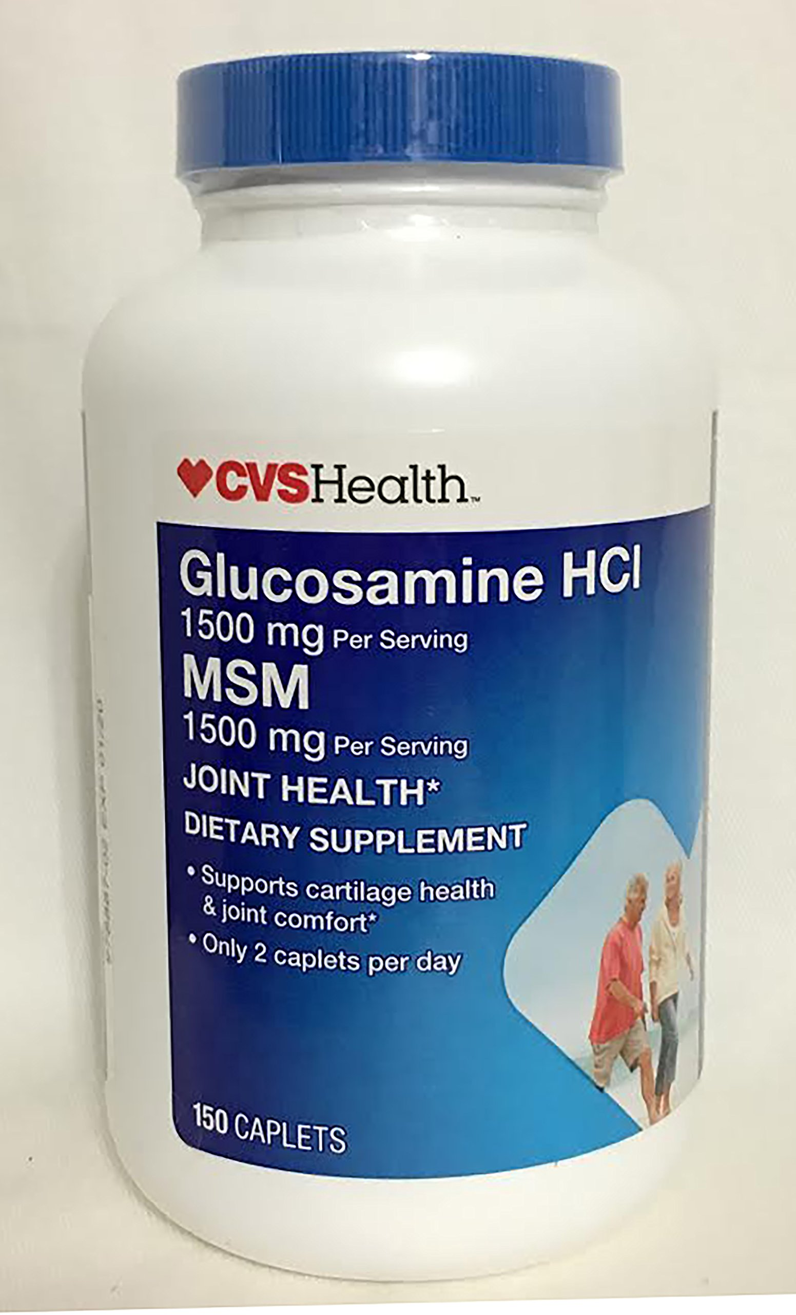 CVS Glucosamine HCI 1500 mg MSM Joint Health Dietary Supplement 150 Caplets.