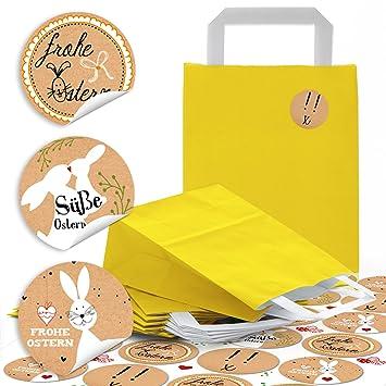 5 amarillas pequeñas bolsas de papel oste rtüten con asa y suelo 18 x 8 x