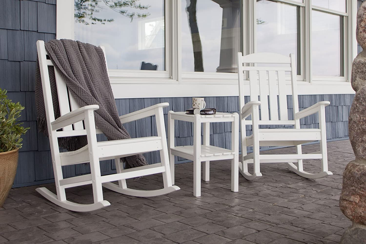 Amazon.com  POLYWOOD PWS138-1-WH Presidential 3-Piece Rocker Chair Set White  Patio Rocking Chairs  Garden u0026 Outdoor : white porch rocking chair - Cheerinfomania.Com