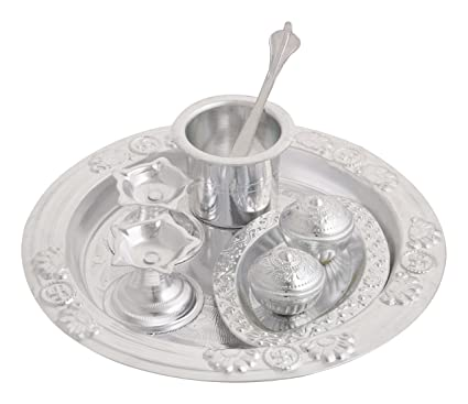 Desi Mart Silver Plated Pooja Thali Set (Silver Pack Of 6) decorative  sc 1 st  Amazon.in : silver plated pooja set - pezcame.com