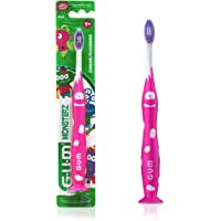 GUM Monsterz Kids Toothbrush, Ultra Soft, Suction Cup Base, Ages 5+, 1 Count (Colour may vary)