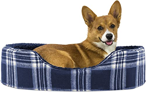 Furhaven Pet Dog Bed Round Oval Cuddler Nest Lounger Pet Bed for Dogs Cats - Available in Multiple Colors Styles