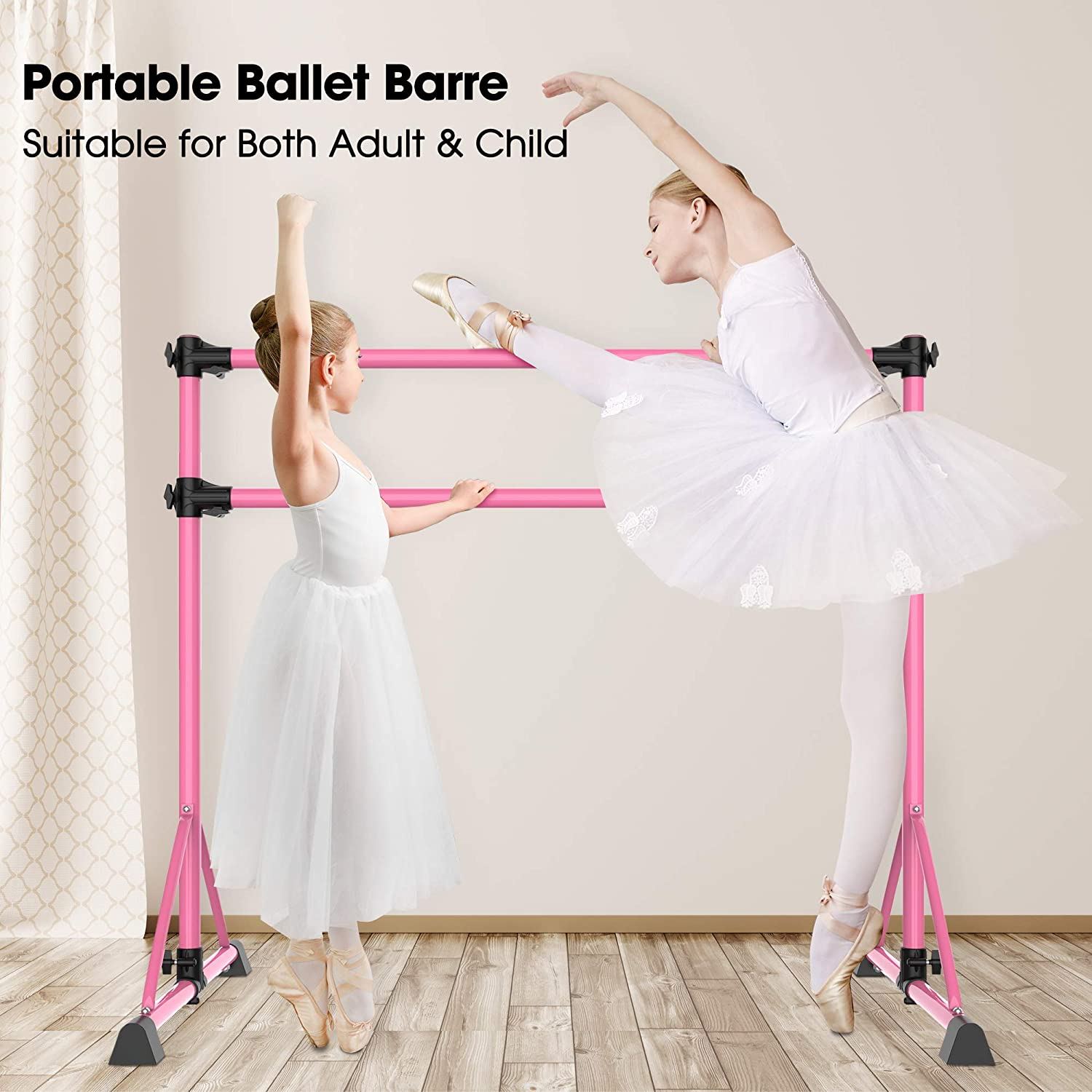 TOUSKII Ballet Barre Portable for Home, Kids Ballet Bar Adjustable Double Freestanding Ballet Exercise Equipment, 4FT Dance Bar for Women with Adjustable Stretcher for Dancing Stretch, 250LB Capacity : Sports & Outdoors