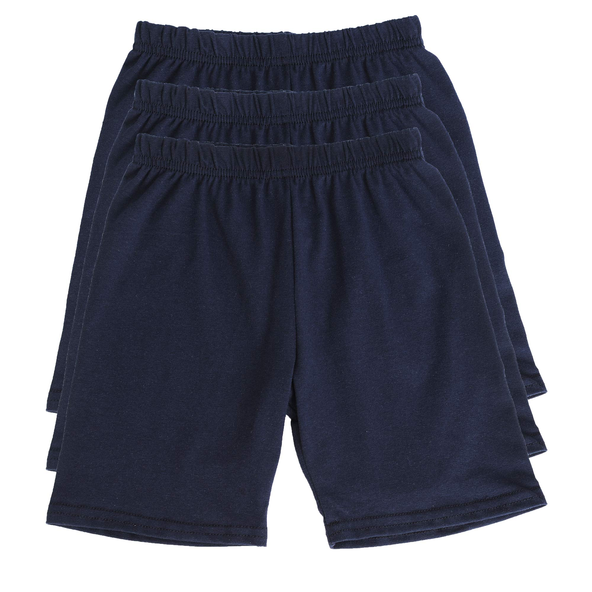 My Way Girls' Solid Cotton Bike Shorts (Pack of 3) - Sizes 2-14 Made in USA (4, Navy)