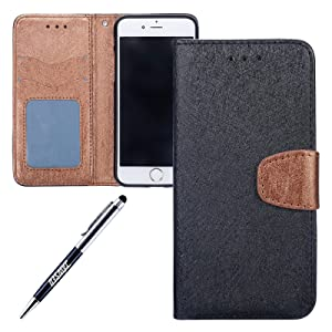 JAWSEU Coque Etui pour iPhone 5S Portefeuille Pu,iPhone SE étui Folio en Cuir,iPhone 5S Coque à Rabat Magnétique Housse Etui de Protection 2017 Neuf Design Luxe Mode Sensation de Matte Couleur de épissure Ultra Slim Mince Pure Leather Pu Case avec Dragonne Corde Flip Wallet Protective Case Cover avec Fonction Stand et Fentes de Carte de Crédit Flexible Souple Tpu Coque Intérieure pour iPhone 5/5S/SE+1*Noir Stylo Paillettes-noir