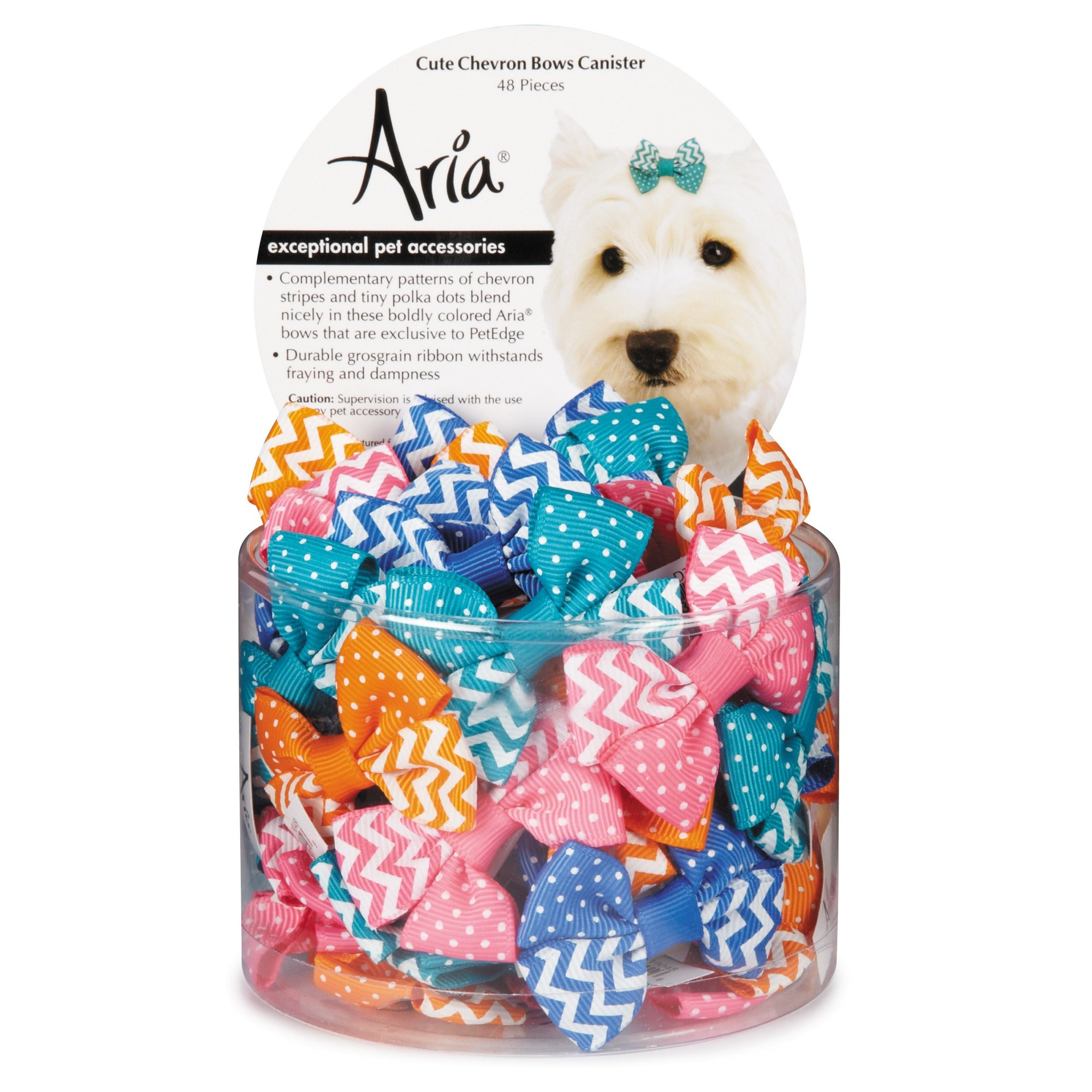 Aria 48 Piece Cute Chevron Dog Bow Canister by Aria