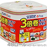日本製紙クレシア スコッティファイン 3倍巻 キッチンタオル 150カット 4ロール×12パック(48ロール) 33240
