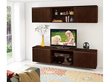 PER Landhaus 2 Tlg. Wohnzimmer Set Möbel Hängeschrank TV Lowboard  Walsnussfurnier