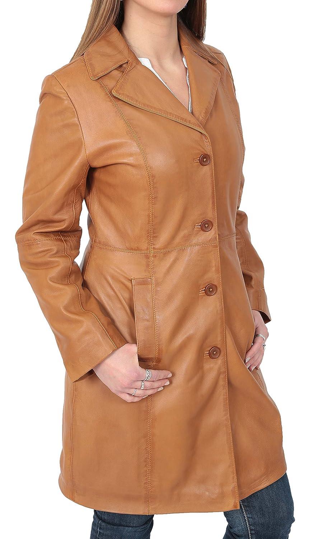 House of Leather Damen 3//4 L/änge Weiches Leder Klassisch Lang Einzeln Breasted Mantel Macey Hellbraun