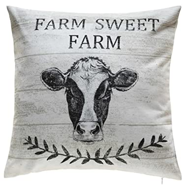 TINA'S HOME Farmhouse Sweet Farm Decorative Square Toss Pillows with Down Alternative Filling - Cow (18x18 inches)
