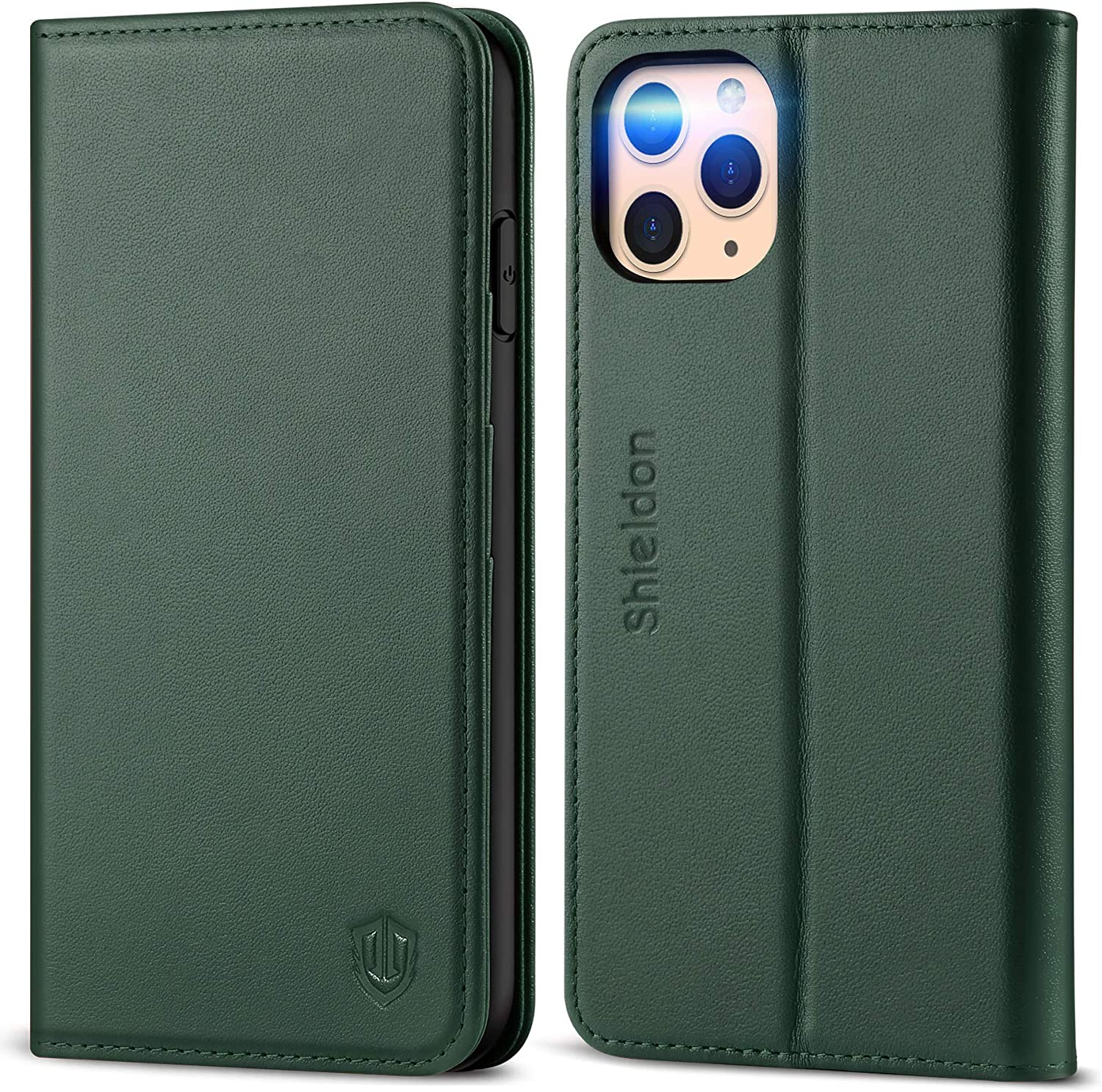 SHIELDON iPhone 11 Pro Max Case, Genuine Leather Wallet Auto Sleep Wake Case Folio Stand RFID Blocking Credit Card Slot Magnetic Protective Cover Compatible with iPhone 11 Pro Max - Midnight Green