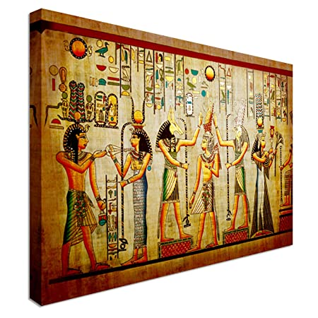 Old Papyrus Style Egyptian Art 20x30 Inches | Canvas Art Cheap Wall Print    High Quality