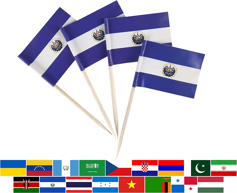 JBCD 100 Pcs El Salvador Flag Toothpicks Salvadoran Flags Cupcake Toppers Decorations, Cocktail Toothpick Flag Cake Topper Picks Mini Small Flag Cupcake Pick Sticks