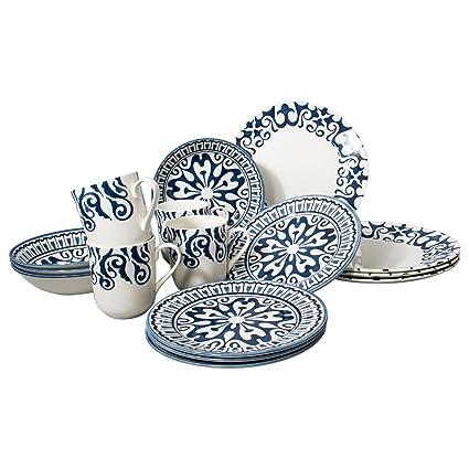Tudor 16-Piece Porcelain Dinnerware Set Service for 4 - HENNA BLUE; Closeout  sc 1 st  Amazon.com & Amazon.com | Tudor 16-Piece Porcelain Dinnerware Set Service for 4 ...