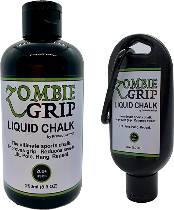 Zombie Grip Giza líquida | botellas de 50 ml (con mosquetón) o 250 ml – la tiza deportiva líquida definitiva para escalada, levantamiento de pesas, ...