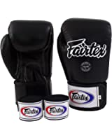 Fairtex Muay Thai Boxing Gloves BGV1 Solid Black Size : 10 12 14 16 oz. Training & Sparring All Purpose Gloves for Kick Boxing MMA K1 Tight Fit Design