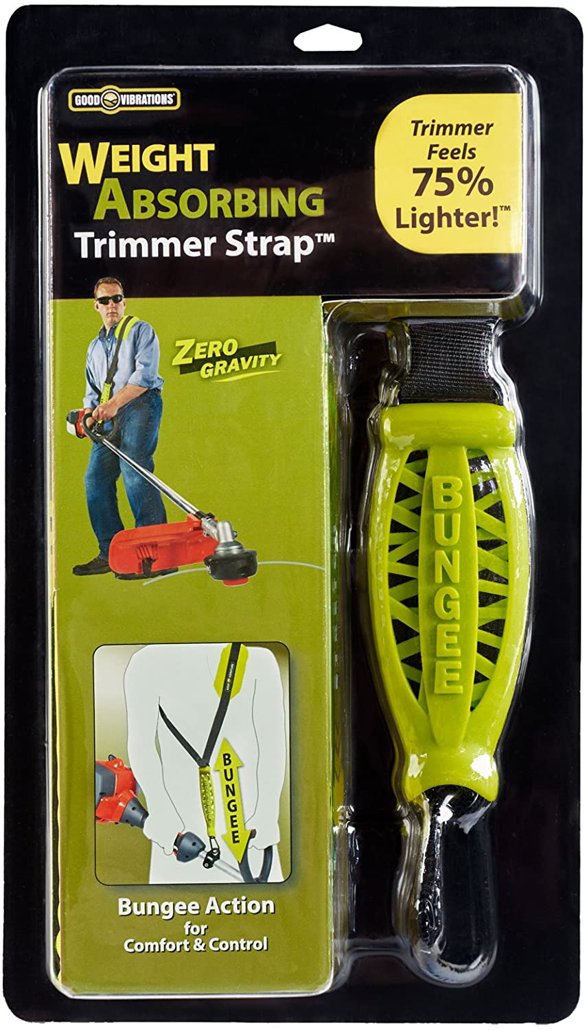 Good Vibrations Zero Gravity - Universal Weight Absorbing String Trimmer Strap with Bungee PRO-X System & Deluxe Comfort Shoulder Pad - Reliefs Body Tensions & Stabilizes Trimmer for Maximum Control : Garden & Outdoor
