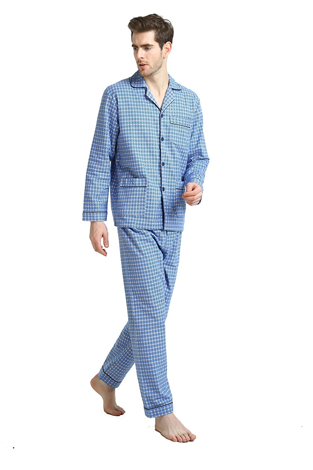 Global Men's Pyjamas 100% Cotton Comfortable Flannel Sleepwear Long-Sleeve top and Bottom Flannel Pyjamas Sets