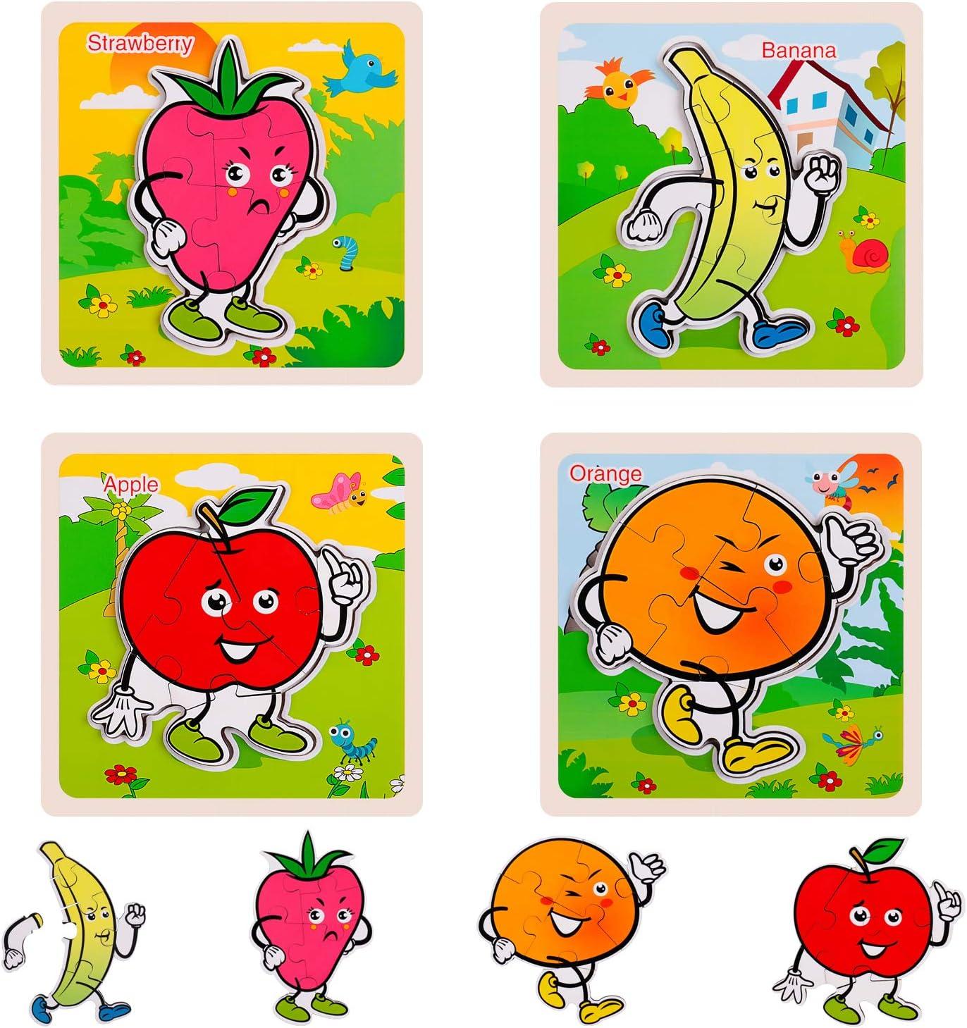 Prairie Rolimate 4 in 1 Puzzles f/ür Kinder 56-teilige Puzzles 3 4 5 Jahre Alten Jungen und M/ädchen-L/öwe Hirsch Elefant Leopard Preschool Puzzles f/ür Kleinkinder mit Metall-Puzzle-Box