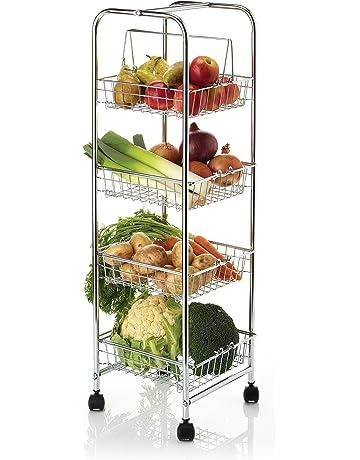 Kitchencraft - Carro auxiliar con 4 cestas para cocina (25 x 25 x 86 cm