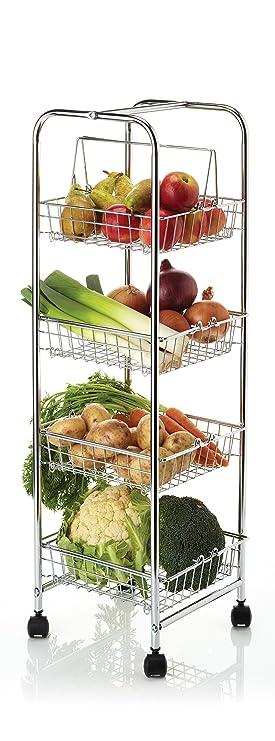 Kitchencraft - Carro auxiliar con 4 cestas para cocina (25 x 25 x 86 cm), color cromado: Amazon.es: Hogar