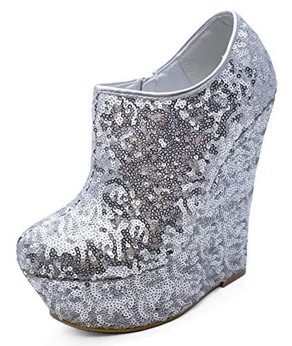 03e566c8dbb HeelzSoHigh Ladies Silver Sequin Zip-up Wedge Platform Ankle Chelsea Boots  Shoes Sizes 3-