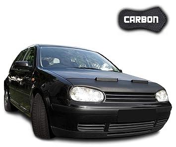 Protección capó Golf 4 Clean Carbon Cubierta capó Car Bra Coche Negro Front Máscara Bonnet Tuning: Amazon.es: Coche y moto