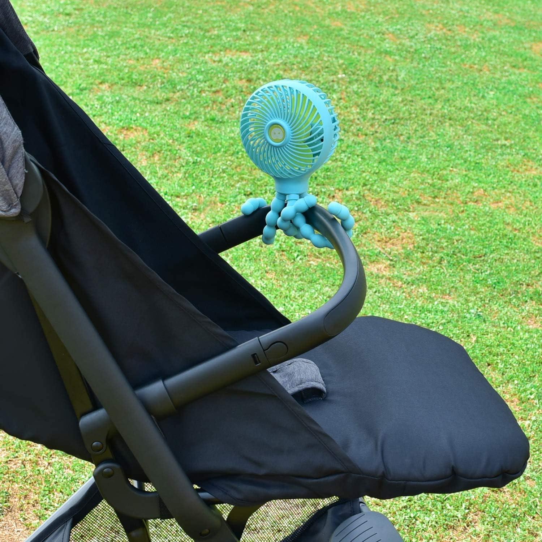 YoLin Kinderwagen USB Ventilator Blau Tragbares Mini Handheld Baby Ventilator das auf Autositz//Studentenbett//Fahrrad Aufgewickelt Werden Kann USB und Batteriebetriebener Schreibtisch Ventilator