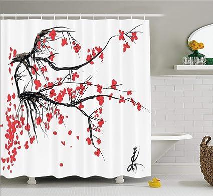 Ambesonne Nature Shower Curtain, Sakura Blossom Japanese Cherry Tree Garden  Summertime Vintage Cultural Print,