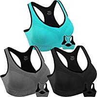 3 Pack Women Racerback Sports Bras High Impact Workout Yoga Gym Fitness Bra