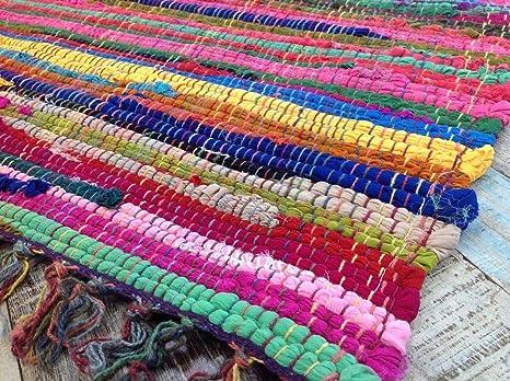 Tappeti In Tessuto Riciclato : Tappeto cotone riciclato multicolore fatto a mano stile