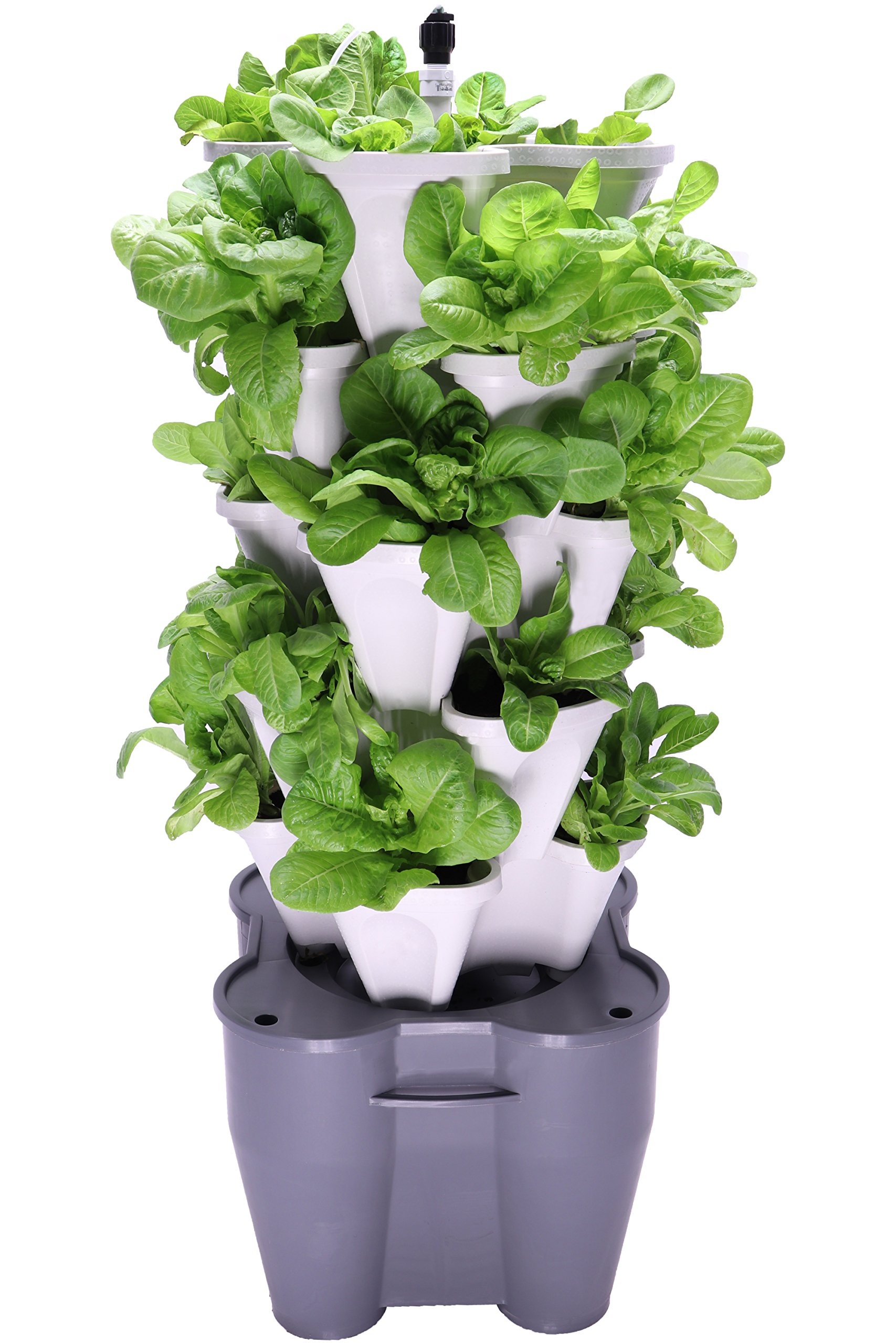 Smart Farm - Automatic Self Watering Garden - Grow Fresh Healthy Food Virtually Anywhere Year Round - Soil or Hydroponic Vertical Tower Gardening System By Mr Stacky (Standard Kit, Stone)